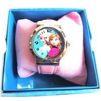 Wholesale Frozen Moive Anna Elsa Watch kids fashion Frozen Princess boxed watch Watch Frozen Pattern Design Cute Lovely Girl Watch Random Delivery