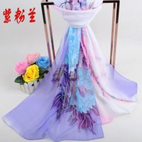 Wholesale 10 colors Autumn spring New Women Peony Print sillk chiffon scarves cm shawls for women