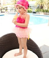 hat factory - Children s Lace Flowers Fission Gauze Swimwear Girls Beach Swimwear Dance Dress Hats Swimsuit Factory Supply Directly