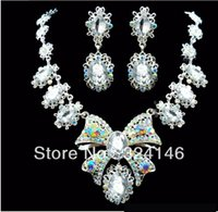 ab crystal jewellery - New design shiny AB color crystal Bridal jewellery set Silver Necklace Earrings Wedding jewelry set for women