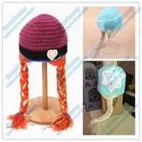 Cheap Newest Baby Infant Elsa Anna Winter Hat Crochet Hats knitting wool Caps for Baby girls Cartoon Warm Hat with Plait Free Shipping MZ08