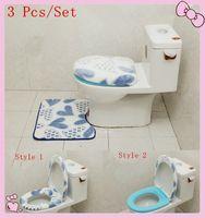 Cheap 3pcs set Bathroom washable Sitting Toilet Seat Cushion Mat +Closestool Cover Bathroom Warmer Toilet Washable Seat Cover Pads