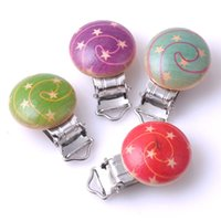 Wholesale 5PCs Paisley painted Baby Pacifier Clip Round Wood For Hamemake DIY Craft x45mm MT0329