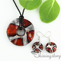 wooden earrings - round foil glitter lampwork glass necklaces pendants and earrings jewelry sets Fashion necklace wooden necklace murano glass jewelry pendant