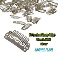 snap on teeth - 24mm Wig Clip U Clip Snap On Teeth Snap Clips With Silicone For Wig Hair Extension Weave Clips