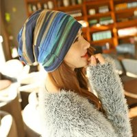 Wholesale French velvet jacket explosion models female head hat ladies autumn and colorful striped scarf cap