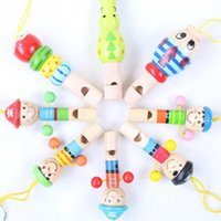 Cheap Hot sale 5pcs Lot Wholesale Pirate Whistle For Baby Wooden Cartoon Music Playing Musical Instruments Free Shipping FZ1694