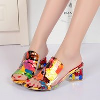 Cheap 2015 summer rainbow wedges pumps high heels women gladiator sandals shoes women's red fashion slippers shoes woman for summer