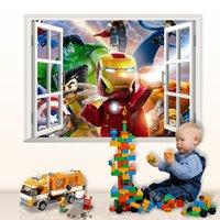 Wholesale 3D Wall Sticker Lego game D false windows real kindergarten children DHL