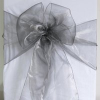 Wholesale 50 Dark Silver Organza Sash Chair Cover Bow Wedding Party Banquet Shimmering High Quality Brand New SASH
