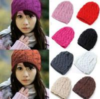 Wholesale Hot Sale fahsion Women Knit Winter Warm Crochet Hat Braided Baggy Beret Beanie Cap