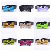 Wholesale 20PCS LJJG1 New Children Pure Plain Bowtie Polyester Pre Tied silk tie multicolor necktie silk jacquard woven tie