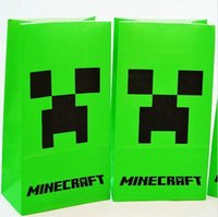 Cheap Top Quality Cartoon Anime Minecraft Paper Packaging Bags 24cm*13cm Green Gift Wrapping Bags For Birthday Wedding Party