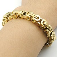 Wholesale Promotion Men s Bracelets Gold Chain Link Bracelet Stainless Steel mm Width Byzantine High Quality BB247