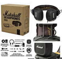 Cheap Hot sale!!Marshall Major Leather Noise Cancelling Deep Bass Stereo Monitor DJ Hi-Fi Headphones Headset W  Remote dhl Free Shipping