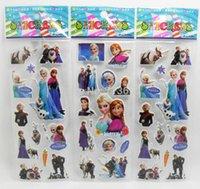 Graphic vinyl magnet sheet - 20 Sheets Frozen Kids Cute PVC Puffy Stickers Cartoon Craft Scrapbook Stickers Frozen party suppliers fridge magnets