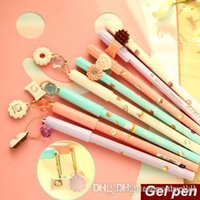 Wholesale 8 Sweet Gel pens Cute cat and Cookie pen Macaroon Canetas stationery zakka material escolar school supplies A5