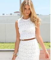 Vestido de verano de las nuevas mujeres del cordón blanco sin mangas casuales de verano Vestidos Vestidos Roupas Femininas lindas