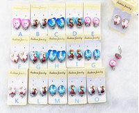 Pink alloy screws - 15 designs Frozen Earring clip Earrings Kid Jewelry New Frozen Elsa Anna Heart shaped Glass Earrings Ear Clip Earring HJ