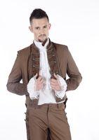 aristocrat long coat - Fall New Romantic Gothic Elegant Aristocrat Black Brown Demin fleece Blend Long Coat for Man pentagramme coat trench M080021