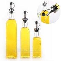 glass bottle olive oil - Kitchenware Glass Oil Vinegar Bottle oiler cruet condiment bottles olive oil bottle square oil ML