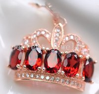 Wholesale Crown pendant Garnet necklace pendant Real natural garnet sterling silver Perfect jewerly Form men or women Fine jewelry DH