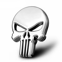 auto racing stickers - Universal Silver Skull Chrome Silver Racing Car Emblem Badge D Car The Punisher Sticker Auto Exterior Logo Decoration