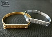 best friend christmas present - Metalwork Stainless Steel Finy Women Men Jewelry Love Letter Charm Bangles in Gold Silver For Best Friends Christmas Present