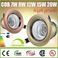 5 años de garantía + CREE 7W 9W 12W 15W 20W COB LED Downlights regulable / No inclinable Gabinete Lámpara de techo empotrada abajo se enciende lámparas CSA SAA