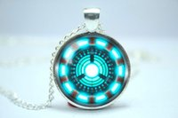 arc reactor - 10pcs Handmade Iron Man Tony Stark Arc Reactor inspired glass cabochon dome pendant necklace