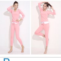 ballroom dancing fitness - 2016 New Sport Yoga Wear set Women Breathable Fitness Clothes Long Sleeve Jogging T shirt Girls Ballroom Dance or Training
