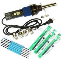 Wholesale 450W Degree LCD Adjustable Electronic Heat Hot Air Gun Desoldering Soldering Station IC SMD BGA Nozzle Fluxing Tools order lt no tr