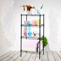 bathroom wire shelves corner - 4 Tiers Metal Chrome Bathroom Corner Wire Rack with Square Style