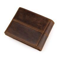 Wholesale Vintage Crazy Horse Leather Men Wallets Classical Short One Folder Mini Purse for Male Brown PR098064