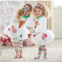 Wholesale Christmas Baby Girl Outfits clothes Suits T shirt Rainbow Striped Leggings Pants Reindeer Sweater Xmas Outfits Children Clothing