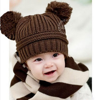 Wholesale 2015 Korean New Fashion Baby Girls Boys Kids Children Dual Ball Knit Sweater Cap Hats Winter Warm Knitted