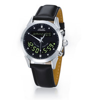 azan times - Islamic Stainless Steel Waterproof Dual Time Dual Language Azan Wrist Watch Prayer Watch Leather Wristband HA BL