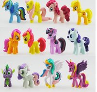 Wholesale 12 set Cute my little pony PVC figure Toys For Children christmas birthday Gift hot cartoon Action Figure Vinyl Doll Toys Cake Toppers