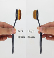 Wholesale Oval Makeup foundation brush Cosmetic Foundation Cream Powder Brush Makeup Brush light brown and dark brown