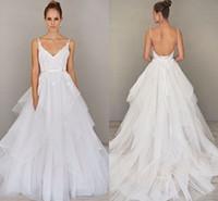 beach features - Featuring Glamorous Alvina Valenta Wedding Dresses Elegant Tiered Skirt Spaghetti Backless Beach Wedding Gowns Cheap
