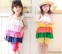 children dresses - Fashion Girls Rainbow Condole Belt Dresses Summer Sleeveless Children Clothing Suspender Dress Kids Costume Dresses Child Dress HR608