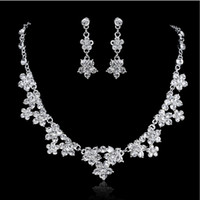 10k gold jewelry - New Arrive Shining Crystal Bridal Jewelry Wedding Hair Accessories Jewelry Necklace Earring Crown Three piece suit