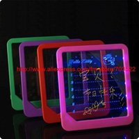 Wholesale DHL EMS LED fluorescent Colorful plastic frame LED Flashing Message Writing Rewriteable Board tiggou