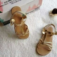 plain shoes - new Kids Shoes for girls summer fashion gold plain princess shoes flip sandals shoes LL