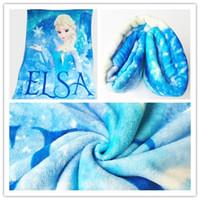 blankets - 2014 blue frozen Christmas Bedding Set Kids Frozen blanket Ice princess blanket Elsa flannel soft warm lagre blanket cm top