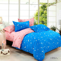 Wholesale new bed linen set king queen full twin size pieces bedding set doona duvet cover flat sheet set stars and moon