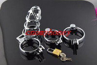 Wholesale 30pcs luxury bondage male chastity devices belt stainless steel lockable cock cage penis ring cage dildo cage ring sex toys for men