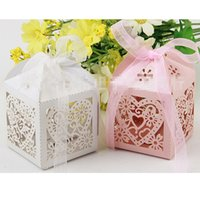 Wholesale Wedding Accsspries Favor Holders Continental Hollow Pierced Heart Tray Lace Wedding Candy Box Laser Creative Favor Holders Bridal
