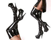 other over the knee boots - women winter boots CM Platform black patent leather over the knee boots womens size boots