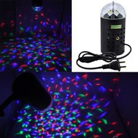 Wholesale Hot Mini Laser Stage Lighting Voice activated LED Stage Light with EU US Plug W Crystal Magic Ball for DJ Disco Xmas Party